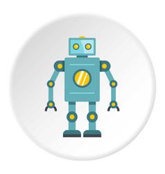 Blue retro robot icon circle vector