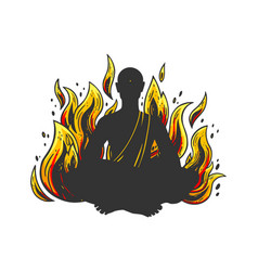burning meditating monk sketch vector image