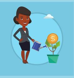 Business woman watering money flower vector