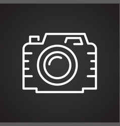 camera line icon on black background for graphic vector image