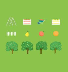cartoon autumn garden sign icon set vector image