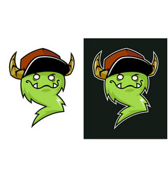 Cartoon grinning troll mascot with horns in cap vector
