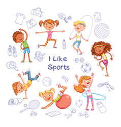 children are engaged in different kinds of sports vector image