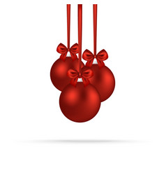 christmas red balls with bows on ribbons vector image