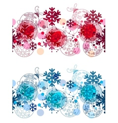 Christmas seamless border with balls vector image