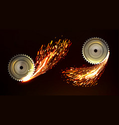Circular saw blades with sparks metal work fire vector