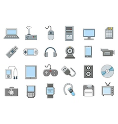 Computer technologies icons set vector
