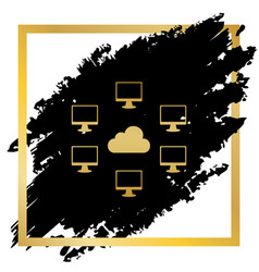 computers nerk sign golden icon at black vector image