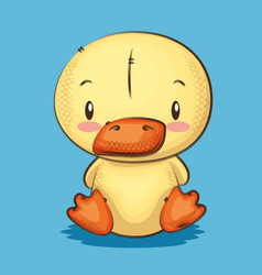 Cute and little duck character vector