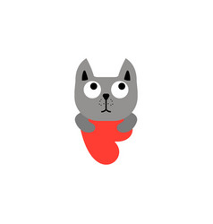 cute cat holding heart valentines design vector image