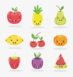 cute fruits collection vector image