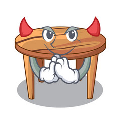Devil cartoon wooden dining table in kitchen vector