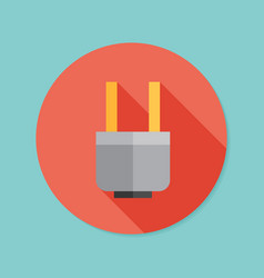 Electric plug flat icon with long shadow eps10 vector
