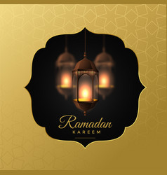 elegant hanging lanterns ramadan kareem background vector image