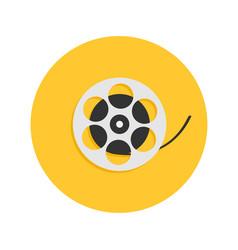 film movie reel i love cinema round icon flat vector image