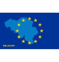 Flag of European Union with Belgium on background vector