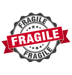 Fragile stamp sign seal vector