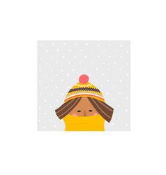 Freezing girl hat scarf winter season vector