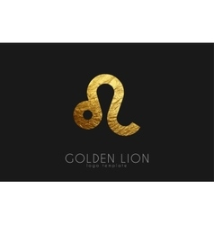 Golden lion Golden zodiac sign Lion zodiac vector image