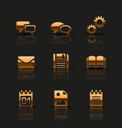 Golden web icons set vector image