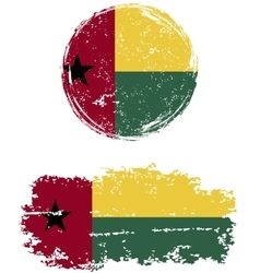 Guinea-Bissau round and square grunge flags vector image