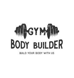 gym for body builder vintage logo design vector image