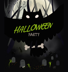 halloween night poster with black owl graveyard vector image