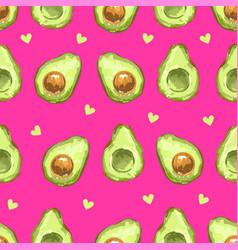 Hand drawn avocado seamless pattern vector