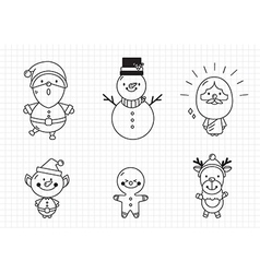 Hand drawn Christmas characters and elements vector image