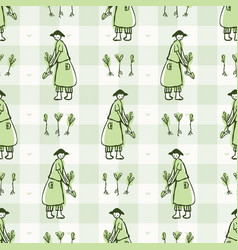 Hand drawn whimsical woman gardner with hat sowing vector