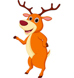 Happy deer cartoon waving hand vector