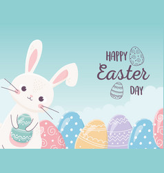 happy easter cute rabbit with eggs celebration vector image