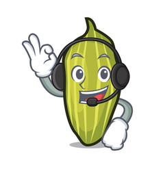 Headphone cardamom mascot cartoon style vector