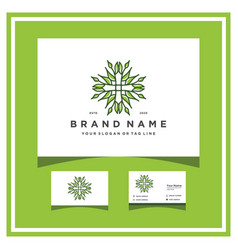 Health leaves logo design with a business card vector