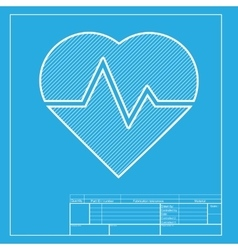 Heartbeat sign White section of icon vector image