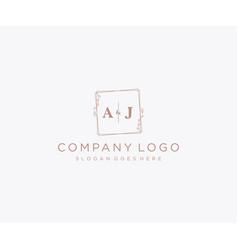Initial aj letters decorative luxury wedding logo vector