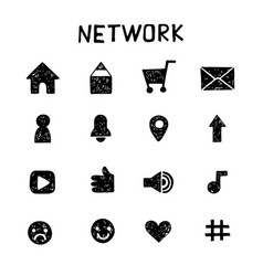 Internet icons sketch set social media vector