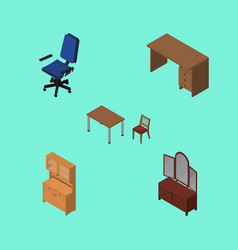 Isometric furnishing set of chair table cupboard vector