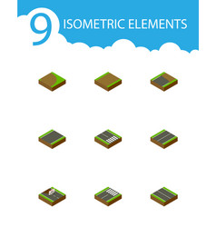 isometric way set of flat footer plane and other vector image