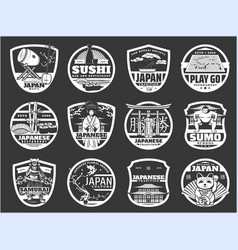 japan religion history and culture sushi icons vector image