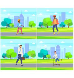 kid skateboarding in city park people walking vector image