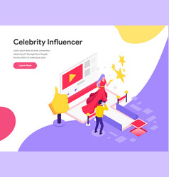 Landing page template celebrity influencer vector