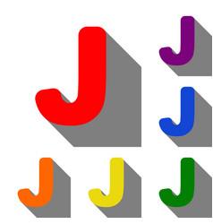 letter j sign design template element set of red vector image