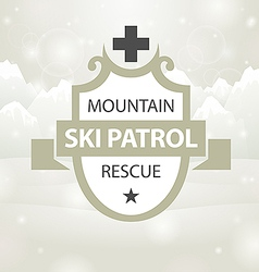logotype mountain ski patrol rescue vector image