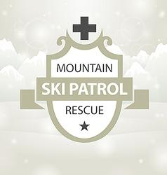 Logotype mountain ski patrol rescue vector
