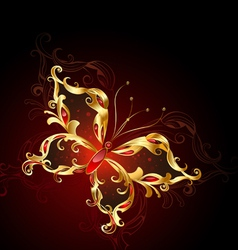 Luxury golden butterfly vector