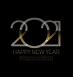 luxury greeting card happy new year 2021 vector image