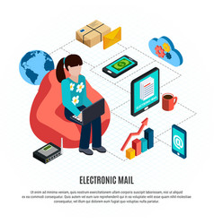 mail isometric colored composition vector image