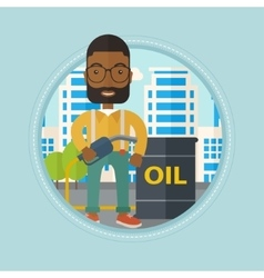 Man with oil barrel and gas pump nozzle vector