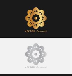 Mandala gold round ornament pattern on black vector